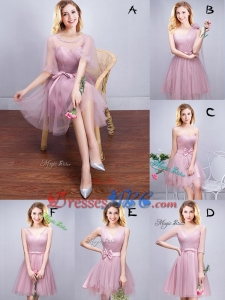 Latest Tulle Pink Short Dama Dress with Ruching and Bowknot