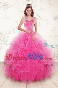 2017 Pretty Straps Hot Pink Quinceanera Dresses with Beading