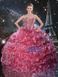 Top Seller Ball Gown Coral Red Sweet 17 Dresses with Ruffles and Beading