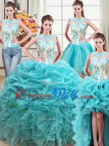 See Through Puffy Scoop Ruffled and Beaded Bodice Organza Detachable Quinceanera Dress in Aqua Blue
