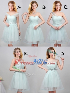 Perfect Princess Laced Bodice Tulle Short Dama Dress in Apple Green