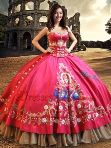 Western Style Perfect Big Puffy Embroideried and Beaded Quinceanera Dress in Taffeta