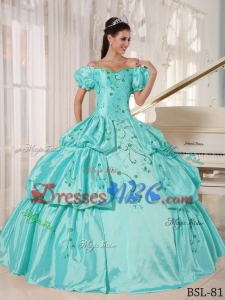 Ball Gown Off The Shoulder Floor-length Taffeta Embroidery Quinceanera Dress