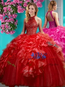 Gorgeous Beaded and Ruffled Simple Quinceanera Dress with Halter Top