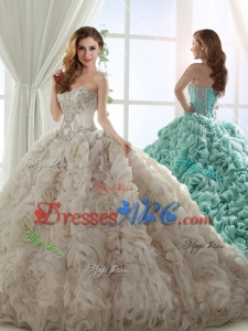 Cheap Puffy Skirt Brush Train Beaded Champagne Quinceanera Gown in Rolling Flowers