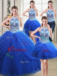 Unique Puffy Halter Top Tulle Beaded Decorated Detachable Quinceanera Dress in Royal Blue