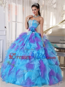 Best Seller Blue and Purple Ruffled Dress for Quince with Sash