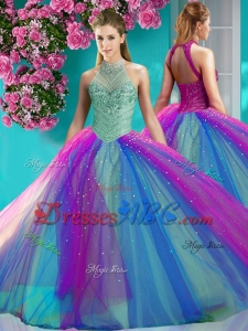 Exclusive Halter Top Really Puffy Modern Quinceanera Dress with Beading and Appliques