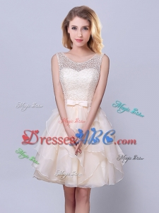 Beautiful Scoop Ruffled and Belted Champagne Short Dama Dress in Organza