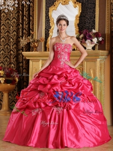 Beautiful Coral Red Taffeta Strapless Pick Ups Quinceanera Dresses