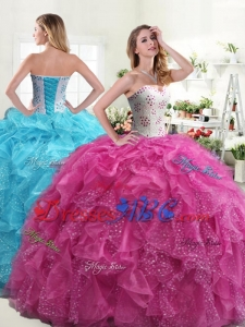 Modern Puffy Skirt Hot Pink Sweet 17 Dress with Beading and Ruffles