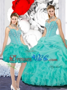 Elegant 2017 Fall Straps Ball Gown Detachable Quinceanera Dresses in Turquoise