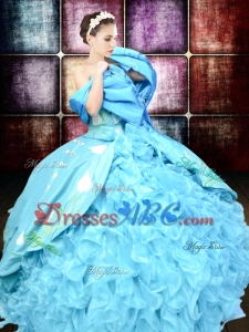 Western Style Luxurious Brush Train Embroideried and Ruffled Quinceanera Dress in Organza and Taffet
