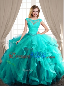 Affordable See Through Scoop Brush Train Turquoise Quinceanera Dress with Cap Sleeves