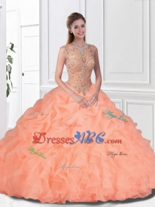 Perfect Beaded and Ruffles Peach Quinceanera Gowns with Bateau