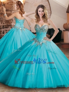 b24ed27b8a6 Pretty Visible Boning Tulle Beaded Quinceanera Dress in Aqua Blue