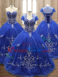 Elegant Applique Royal Blue Sweet 17 Dress with Brush Train