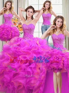 Three for One Sweetheart Organza Beaded and Ruffled Two Tone Detachable Quinceanera Dress