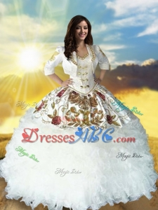 ountry LifeStyle Discount Sweetheart Beaded Top White Quinceanera Dress with Embroidery and Ruffles