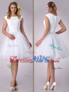 Beautiful Scoop Cap Sleeves Short Lace Wedding Dress In Tulle