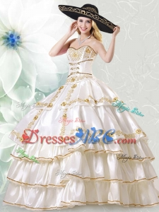 Beautiful White Taffeta Quinceanera Dress with Embroidery and Ruffled Layers