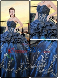 Popular Navy Blue Ball Gown 2017 Quinceanera Dresses with Embroidery