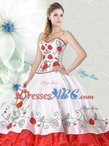Hot Sale Organza and Taffeta Embroideried Quinceanera Gown in Red and White