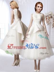 Modest Tea Length A Line Backless Wedding Dress with Appliques