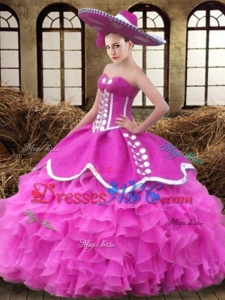 Beautiful Big Puffy Sweetheart Ruffled Organza Quinceanera Dress in Fuchsia
