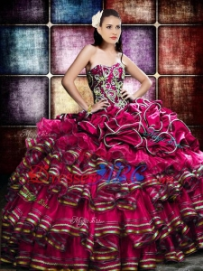 Best Selling Beaded and Ruffled Layers Quinceanera Dress in Organza and Taffeta