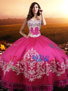 Cowgirl New Style Embroideried and Beaded Sweet 15 Dress in Hot Pink for Summer