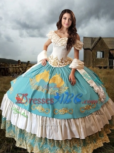 Elegant Laced Embroideried Aqua Blue and White Quinceanera Dress with Off The Shoulder