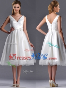 New Style A Line V Neck Hand Crafted Wedding Dress in Tulle