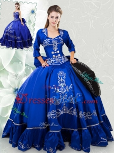 Lovely Embroideried and Bowknot Taffeta Quinceanera Dress in Royal Blue