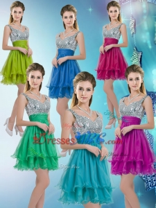 Pretty Straps Short Dama Dresses with Sequins for 2017