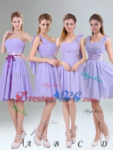 Classical Lavender Princess Mini Length Dama Dress with Ruching