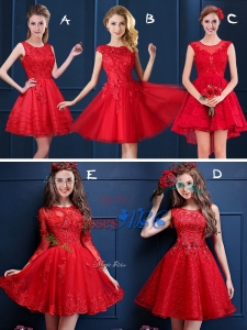 New Style Scoop Red Dama Dresses with Lace