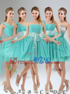 2017 A Line Ruching Lace Up Dama Dress in Aqua Blue