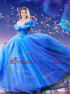 fashionable Hand Made Flowers Cinderella Quinceanera Dresses in Blue