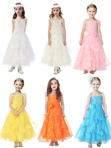 Cheap Spaghetti Straps Little Girl Pageant Dress with Hand Made Flowers and Ruffles
