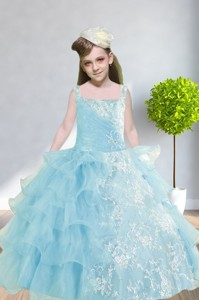 Ball Gown Appliques And Ruffles Baby Bule Little Girl Pageant Dress With Straps