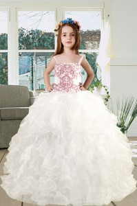Spaghetti Straps Embroidery Ruffles White Organza Little Girl Pageant Dress