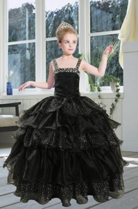 Fashionable Black Straps Sequins Ruffles Organza Little Girl Pageant Dress