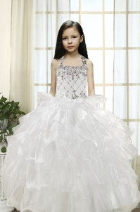 White Ball Gown Halter Little Girl Pageant Dress With Beading And Ruffles