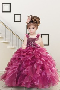 Custom Made Burgundy Little Girl Dress With Beading And Ruffles