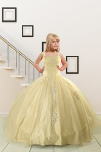 On Sales Appliques Light Yellow Little Girl Dress
