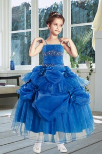 Ball Gown Royal Blue Little Girl Pageant Dress With Ruffles
