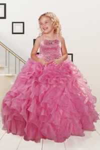 Trendy Pink Little Girl Dress With Beading And Ruffles Spring