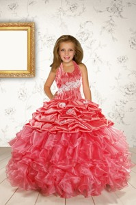 Exquisite Appliques And Ruffles Coral Red Flower Girl Dress Spring