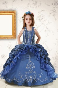 Affordable Appliques And Pick Ups Little Girl Dress In Navy Blue